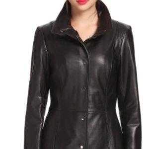 """BGSD Women's """"Jocelyn"""" Lambskin Leather Car Coat"""